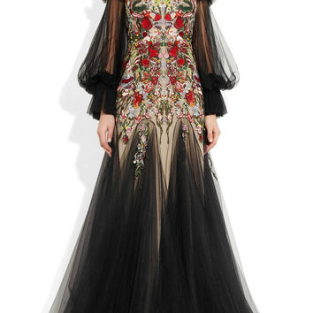 Alexander McQueen Embroidered silk-tulle off-the-shoulder gown NET-A-PORTER.COM