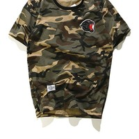 Short Sleeve Embroidery Camouflage Round-neck Casual T-shirts [10309459783]