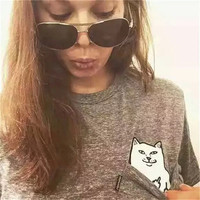 RIPNDIP Women Hidden Middle Finger in Pocket Cat Appliques Printed Casual Party Holiday Short Sleeve T-Shirt Shirt Top _ 5028