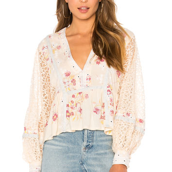 Free People Boogie All Night Blouse in Ivory