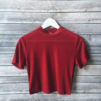 Cierra Mock Neck Tee (Red)