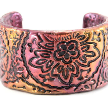 Brilliant Red Gold Bracelet Cuff, Turquoise Jewelry, Unique Bracelet, Cuff Bracelet Women, Southwestern Cuff Bracelet, Bracelet Etsy