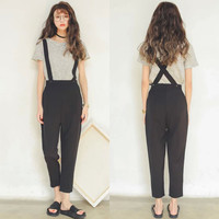 Black Cross Back Overalls