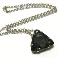 Smoke Grey & Silver Triangle Crystal Pendant Necklace - Simple, Sparkly, and Edgy