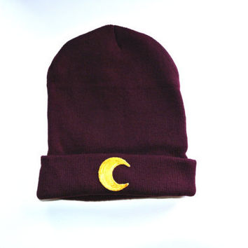 Moon Cult Hand Patched Beanie by MoonShineApparel on Etsy