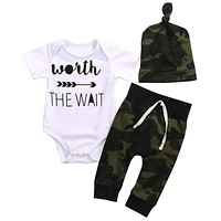 Baby Boy White Bodysuits ,Army Green Pant And Hat Set