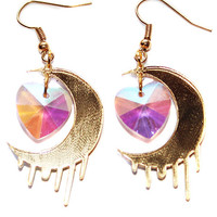 Gold Moon Crescent Crystal Dangle Earrings