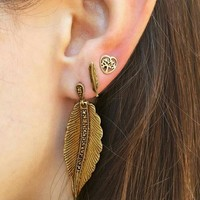 3 Pcs/set Fashion Personality Bohemia Style Leaf Earrings 171120