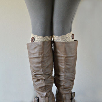 Beige Boot Lace Cuffs, Soft Stretch lace boot cuffs