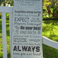 Grandparent Rules Wooden Sign with Personalization,Mothers Day,Easter Gifts,Subway Art,Grandchildren,Fathers Day,Rustic Family Sign,Quotes