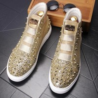 Male high-top shoes Personalized Rivets Casual shoes Fashion Men Flats Spring/Autumn 021