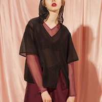 Sheer Hooded Layer Top