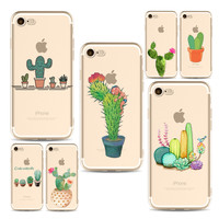 Cactus plant phone Cases For Iphone 6 6s 6Plus 7 7s 7plus Soft Clear TPU Silicon Ultra-Thin Flowers Phone Cover Case
