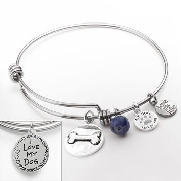 love this life Silver-Plated & Stainless Steel Sodalite Bead, Bone & Paw Charm ''Dog'' Bangle Bracelet