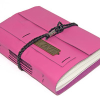 Pink Leather Journal with Love Charm Bookmark