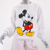 90s white vintage mickey mouse sweater, 1990s 1980s 80s fashion clothing disney, soft grunge, spring 2014 urban outfitters retro retrofit