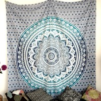 Ombre Indian Mandala Tapestry Wall Hanging Bedpsread Indian Handmade Dorm Decor