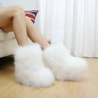 SWYIVY Luxury Ostrich Hair Fur Snow Boots Woman Flat 2018 Winter New Female Fashion Ankle Shor T Boots Cotton Padded  Shoes Warm