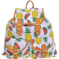 Exotic Sweets Pineapple and Watermelon Print Backpack   Sincerely Sweet Boutique