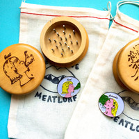 SET of 2 Grinders- Wood Burned Herb Grinders and brooches- Barf Friends Forever