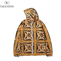 Valentino Fashion New Retro Print Women Men Sunscreen Hooded Long Sleeve Windbreaker Yellow