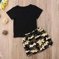 Button pocket Skirts 2pc Toddler cotton Outfit