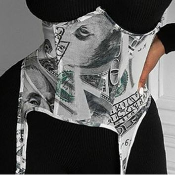 New hot sale fashion adjustable dollar printed plastic waist