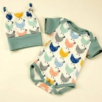 Neutral Baby 2 pc Hen romper and hat set