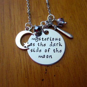 """Disney's """"Mulan"""" Inspired Necklace. Song """"Mysterious as the dark side of the moon"""". Silver colored, Swarovski crystals. Hand stamped."""