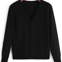 Black Long Sleeve Cardigan with Buttons