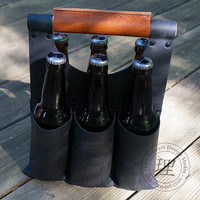 Leather Six Pack Tote -Black and Tan
