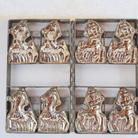 Vintage Metal Candy Mold, Professional Chocolate Mold, 1930's Baby Lambs Easter Chocolate Candy Making