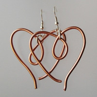 Curly Simple Copper Heart Shape Dangles by VenganzyJewelry on Etsy