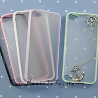 Vintage Silver Rudder and Anchor iPod touch 5 case,Mint green/pink/black/purple/white side clear case plastic cover