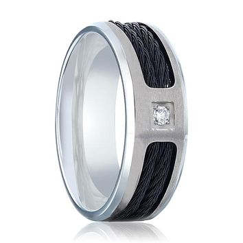 SECTOR Black Rope Cables Inlaid Brushed Finish Titanium Men's Wedding Ring with Diamond Centered.