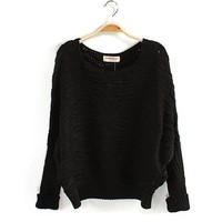 Scoop Neck Batwing Sleeve Casual Christmas Sweater