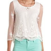 Embroidered Mesh Swing Top by Charlotte Russe