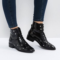ASOS AXIS Leather Lace Up Flat Boots at asos.com