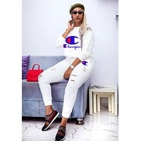 Champion Autumn Newest Popular Women Casual Print Top Sweater Pants Trousers Set Two-Piece Sportswear White