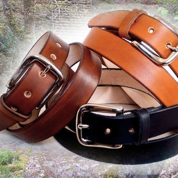 Womens leather belt, black, brown or tan, 1 1/8 in wide, silver buckle, suitable for men, made to order