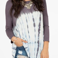 Charcoal and Blue Tie Dye Knit Tunic Top