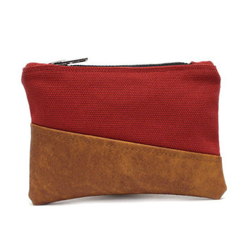 Red Coin Pouch, Small Zipper Pouch, Faux Leather Pouch, Credit Card Case, Small Coin Purse, Red Zipper Case, Change Purse, Mini Makeup Bag