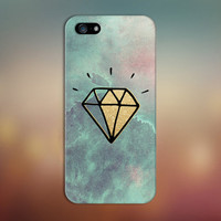 Watercolor Waves x Gold Diamond Case for iPhone 6 6 Plus iPhone 5 5s 5c 4 4s Samsung Galaxy s6 s5 s4 & s3 and Note 5 4 3 2