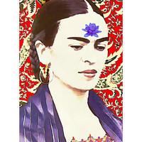 Frida Kahlo Photomontage Watercolor Waterlily Print 5x7 Original Signed Mixed Media Collage Wall Modern Home Decor Buddhist Quote