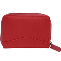 Accordian Leather Credit Card Holder - Red