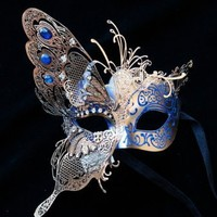 Butterfly Masquerade Laser-Trimmed Blue/Gold Costume Mask