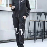 """Valentino""Woman Leisure Fashion Wild Letter Printing Zipper  Long Sleeve Tops Elastic Band Trousers Two-Piece Set Casual Wear Sportswear"