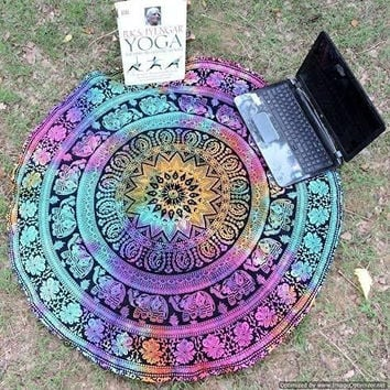 Mandala Roundie Round Beach Throw Tapestry, Hippy Boho Gypsy Cotton Table Cloth Beach Towel, Round Yoga Mat, 70 Inch. Approx by Traditional India