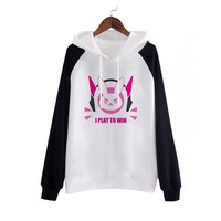 D.VA Cosplay,2017 New Game D.VA Cosplay Party Costume Fashion Hooded Coat Sweatshirts D VA Jackets for Girls/Female/Women/Lady