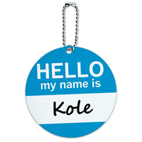Kole Hello My Name Is Round ID Card Luggage Tag